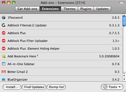 Firefox Extension List Dumper